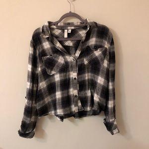 Black and White Plaid Button Down Shirt
